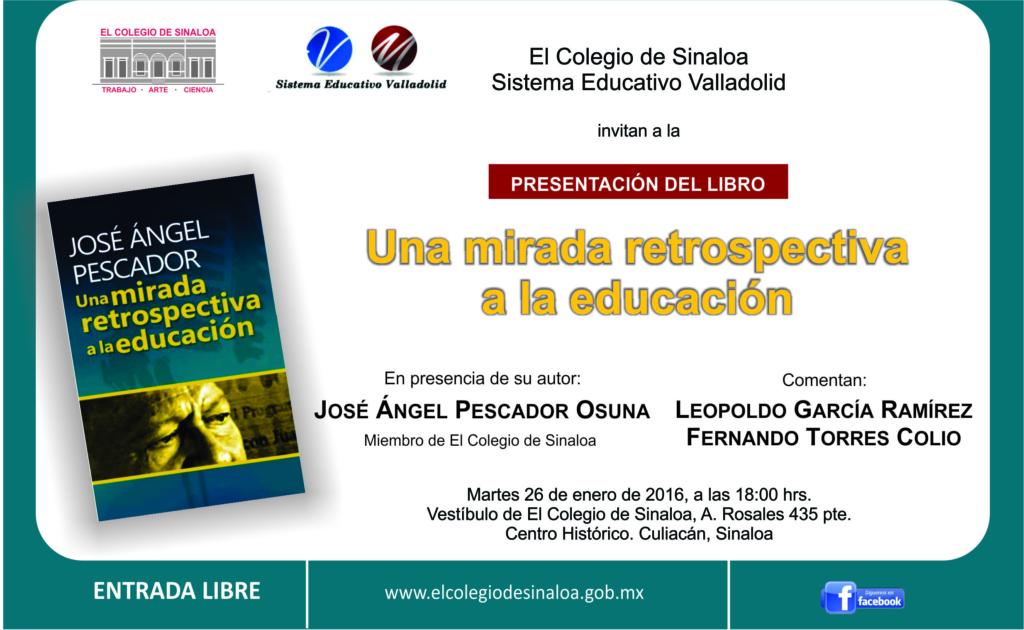 Invitación José Ángel Pescador, presentación de libro