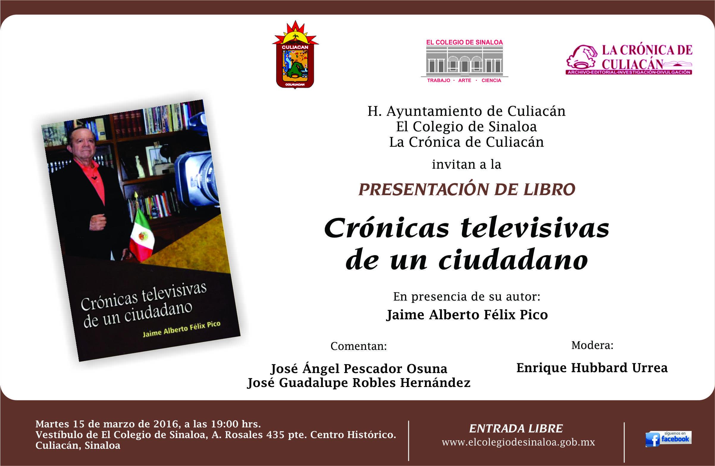 Presentacion de libro Crónicas televisivas de un ciudadano, invitación